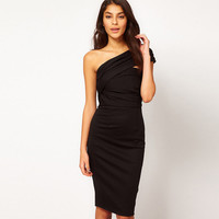 Shoulder Oblique Ruched Bodycon Mini Dress