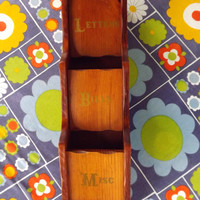 Vintage Letter Box, Wood Walling Hanging Mail Slot Organizer, Home Decor Divided Wood Box