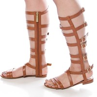 Fierceness Festival High Top Gladiator Sandals - Tan from Breckelles at Lucky 21