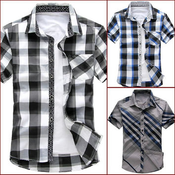 man spring 2014 new brand camisas striped casual mens shirts short sleeves fashion man plus size 5XL 6XL slim fit Men's clothing = 1958354436