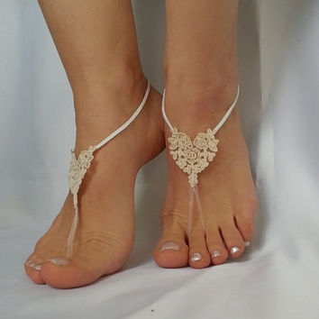 Bridesmaid gift 5 pair , bridal anklet, raw slik color ivory frame Beach wedding barefoot sandals, bangle anklet, free ship  country wedding