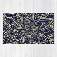 Cute Retro Gold abstract Flower Drawing on Black Rug by Girly Trend
