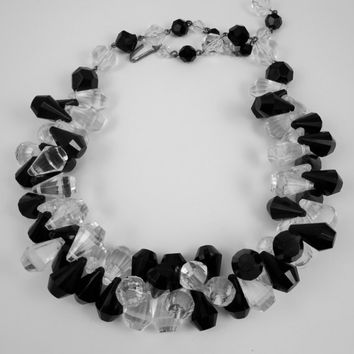 Vintage Lucite Necklace Clear Black Plastic Cluster Fringe Statement Jewelry Costume Jewellery