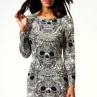 Myla Skull Print Long Sleeve Bodycon Dress