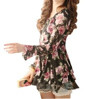 Lady Scoop Neck Flower Pattern Lace Long Sleeve Shirt
