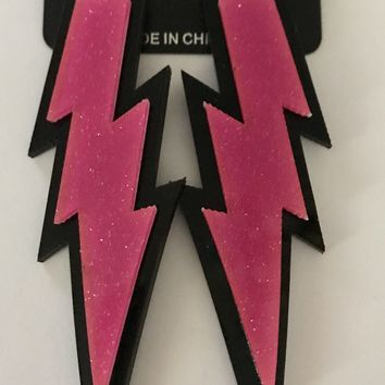 "4"" Pink Lightning Bolt Earrings"