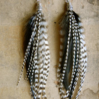 SALE 20 Percent OFF the ENTIRE Shop - Shattered Long Feather Earrings