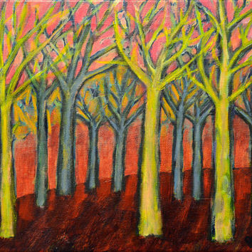 Pink Forest Fire - Original Acrylic Painting - Folk Art - Expressive Tree Art