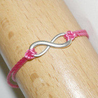 Hot# Pink, Antiqued Silver Infinity, #Wish, Tie On #Bracelet or #Anklet, To #Infinity and Beyond, Symbol, #Forever, #BFF #WANT, #Stackable