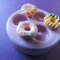 Cabochon Donut Mold Little Donuts Charm Mold Mould Resin Clay Fondant Wax Soap
