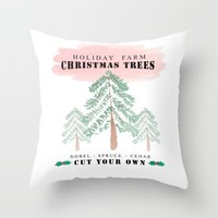 Christmas Tree Farm-red Throw Pillow by Sylvia Cook Photography