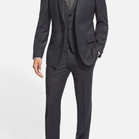 BOSS 'Huge/Genius' Trim Fit Three-Piece Solid Stretch Wool Suit