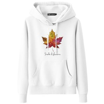 Fashion Canada Maple Leaf Printed Women Hoodies Fall Cotton Casual Female Sweatshirts Ladies Spring Autumn Streetwear Pullover