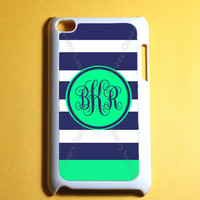 Colorful Stripe Pattern Monogram Ipod Touch 4 Case -  4th Gen Ipod Touch Cases, Cute Monogram ipod case