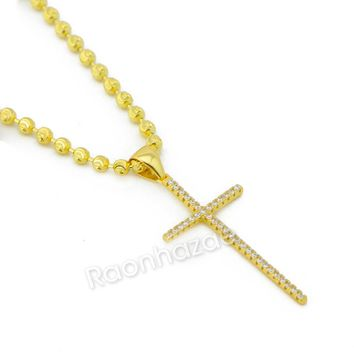 Sterling Silver .925 AAA Lab Diamond Bling Cross w/2.5mm Moon Cut Chain G54