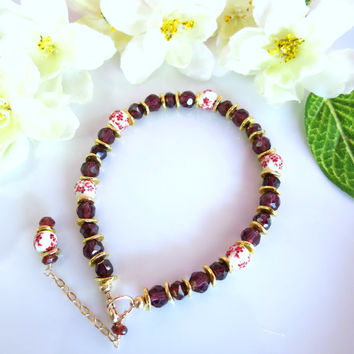 Red garnet cherry blossom ceramic bead gold filled bracelet, Indian red garnet cherry blossom bracelet