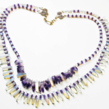 Statement Necklace, Opalite Stick beads, Amethyst Stick Beads, Multi layer Necklace, Adjustable length, Sterling Findings