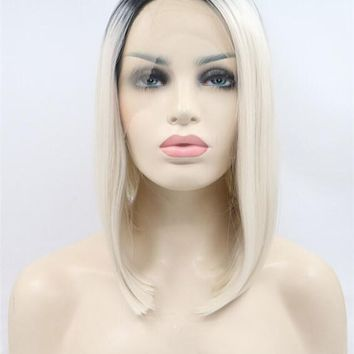 Bleach Blonde Ombre Straight Bob Synthetic Lace Front Wig
