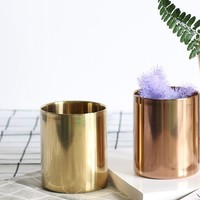 INS Nordic Style Brass Gold Vase Stainless Steel Flower Vase Storage Container Organizer Pen Holder Cup Desk Ornament Home Decor