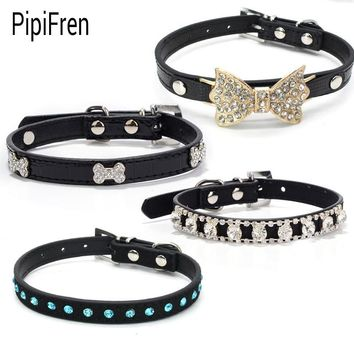 PipiFren Black Small Cats Collars Breakaway Accessories Rhinestone For Leash