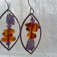 Artsy Amber and Amethyst Tumble Over Crystal Earrings
