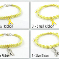 Yellow Awareness Bracelet, Macrame, Bladder Cancer, Endometriosis, POW/MIA, Suicide Prevention, Spina Bifida, Hydrocephalus, Amber Alerts