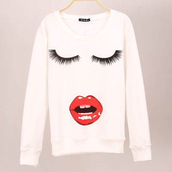 Eyelash Print Kawaii Cute Emoji Sweatshirt