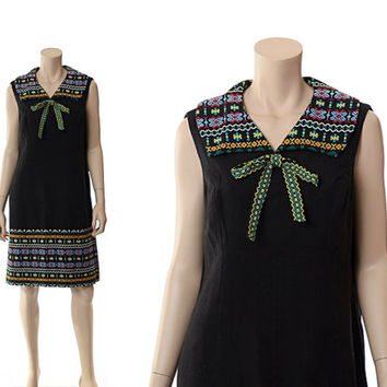 Vintage Ethnic Embroidered Sailor Dress 70s 80s 90s Hippie Boho Mexican Gypsy Woven Cotton Guatemala Shift / M-L