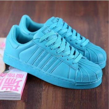 DCCKBWS Adidas' Fashion Shell-toe Flats Sneakers Sport Shoes Pure color cute Blue