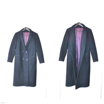 long WOOL coat / MINIMAL navy blue double breasted mens wear PETITE jacket small medium