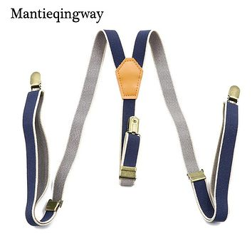Male Suits Vintage Striped Suspenders PU Leather Suspenders 3 Clip Skinny Belt Strap Adjustable Shirts Braces