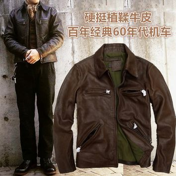 2016 men's punk style motorcycle coat jacket genuine real cowhide leather vintage retro finishing western cowboy brown xxxl 2xl