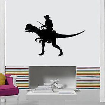 Vinyl Decal Wall Stickers Cowboy Riding Dinosaur Funny Decor For Living Room Unique Gift (z1691)