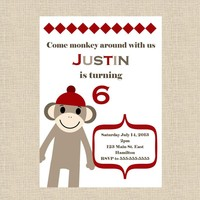 Sock Monkey Birthday Party Invitati.. on Luulla