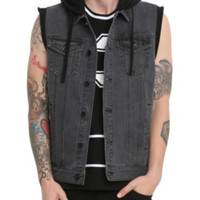 RUDE Faded Black Fleece Cap Hooded Denim Vest