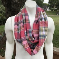 Women's plaid infinity scarf from Nicole Ray Shop