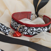 Carmine blade set - blood red black and white choker necklace with bell and matching leash - lolita neko kitten pet play bdsm collar
