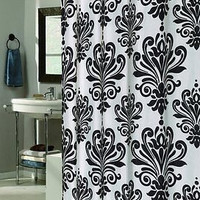 Royal Bath Easy On Fabric Shower Curtain w/ Built in Hooks Beacon Black & White
