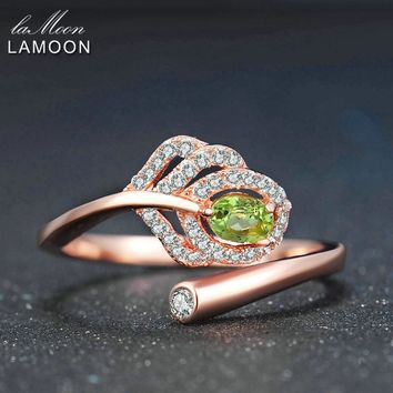 LAMOON Classic Leaf 100% Natural Oval Green Peridot 925 Sterling Silver Ring Women Jewelry S925 Rose Gold Plated LMRI055