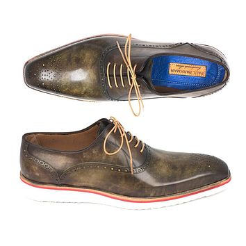 Paul Parkman Smart Casual Men Army Green Oxford Shoes (ID#184SNK-GRN)