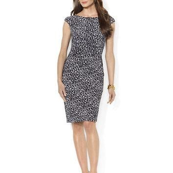 Lauren Ralph Lauren Polka Dot Cap Sleeved Dress