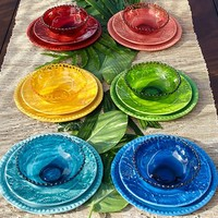 BEADED OUTDOOR DINNERWARE, INDIGO