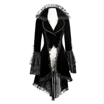 Punk Gothic Forked Tail Slim Fit Long Sleeve Turn-down collar Lace Coat