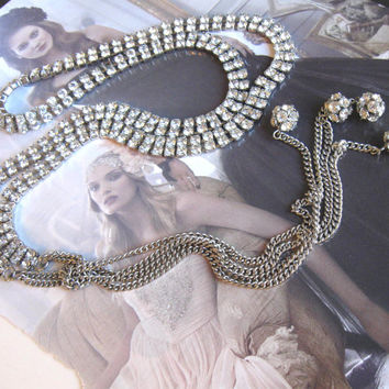 Vintage rhinestone lariat necklace, tassels with crystal balls, Circa 60's