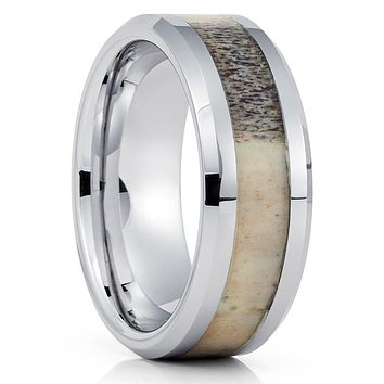 Deer Antler Tungsten Ring - Deer Antler Wedding Band - Deer Antler Ring