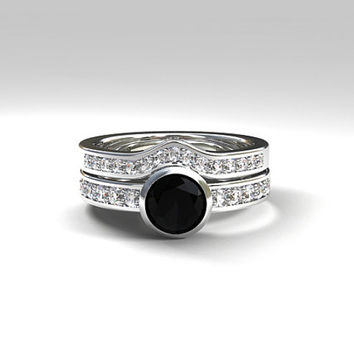 Black spinel engagement ring set, bezel ring, black, half eternity,  curved wedding ring, diamond engagement, wedding, solitaire, gothic