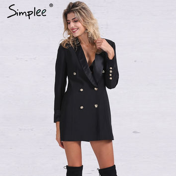 Double breasted long slim suit blazer femme