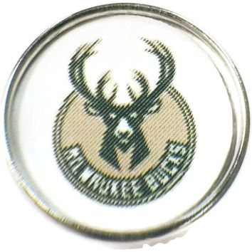 NBA Basketball Logo Milwaukee Bucks 18MM - 20MM Fashion Snap Jewelry Snap Charm New Item