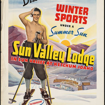 "c.1930s ""Sun Valley Lodge Idaho, Skiing,Shirtless"" Travel Poster-Antique-Old-Vintage Reproduction Photograph/Photo: Gicclee Print. Frame it!"