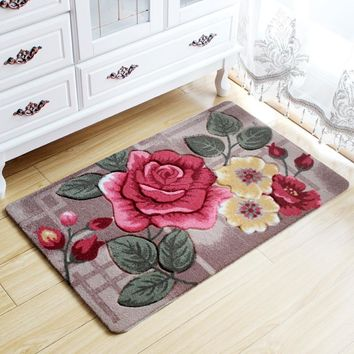 Big 3D Flower Carpet Kids Room,Kitchen Rugs Bathroom Carpet,Doormat,Tapete Para Quarto,Entrance Door Mats Outdoor,Cheap Bath Mat